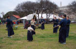 Kendo Warmups in the Shadow of the Alamo Dome.